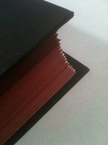 "Photo of deckled edge corner of John Updike's ""Higher Gossip"" by Endpaper Review."