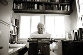 David McCullough working in his 'writing shed' with his Royal KMM typewriter. Photo from wsj.com.